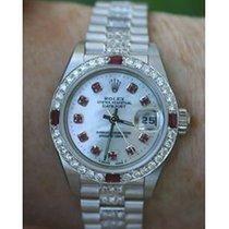 Rolex Ladies 26mm Datejust 179160 Diamond & Ruby White...