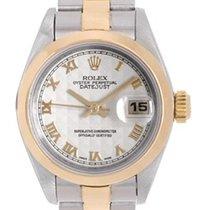 Rolex Ladies Rolex 2-Tone Datejust Watch 79163 Ivory Pyramid...