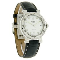 Movado Vizio Diver Mens White Dial Leather Band Swiss Watch...