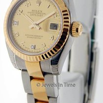 Rolex New Ladies Datejust 18K Gold/Steel Goldust MOP Diamond...