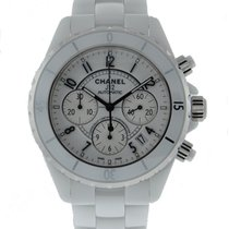 Chanel J12 Automatic Chronograph White Ceramic On Bracelet H1007