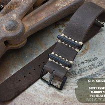 MiLTAT 22mm G10 Grezzo Leather Watch Strap, D. Brown PVD