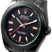 Rolex PVD/DLC (Black Coating) 116400GV Green Crystal Milgauss...
