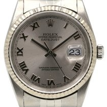 Rolex Datejust 36 16234 Silver Roman Fluted White Gold...