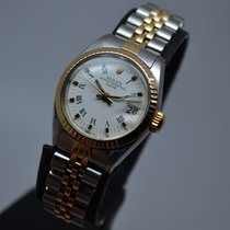 Ρολεξ (Rolex) Datejust 18K Gold Steel Fluted White Roman Dial