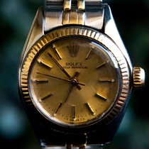 Rolex Oyster Perpetual Ladies 2-Tone Watch 67913 Champagne Dial