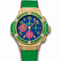 Hublot Big Bang 41mm Pop Art 18K Yellow Gold Sapphires Green...