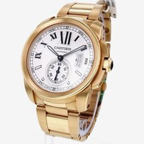Cartier Calibre 18K Rose Gold Silver Dial Automatic Men Watch...