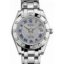 Rolex Pearlmaster 34 81319 Diamond Paved Roman White Gold...