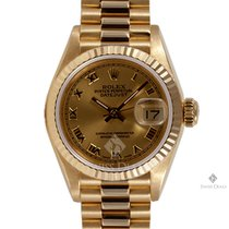 Rolex Datejust Yellow Gold Champagne Roman Numeral Dial Fluted...
