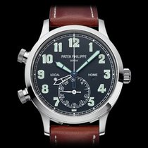 Patek Philippe Calatrava Pilots Travel Time 18k White Gold...