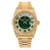 勞力士 (Rolex) Day-date Yellow Gold And Diamonds Green Automatic...