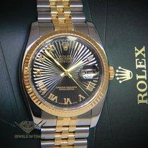 Rolex Datejust 18k Yellow Gold/Steel Black Sunburst Roman Dial...
