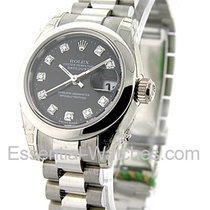 Rolex Unworn 179166_blk_dd Ladys President in Platinum with...