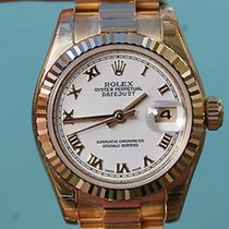 Rolex Ladies 26mm President 18k Yellow Gold 179178 White Roman...