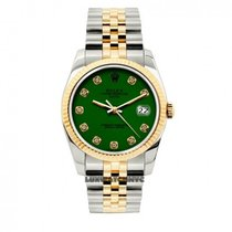 Rolex Date Unisex 34mm Green Dial Stainless Steel And Gold...
