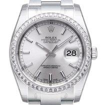 Rolex Datejust 36 Weißgold Diamant Lünette 116244 Silber Oyster-B