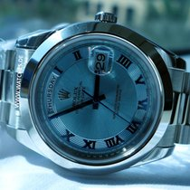 Rolex Day-Date II Glacier blue dial with Roman numerals...