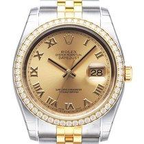 Rolex Datejust 36 Edelstahl Gelbgold Diamant Lünette 116243