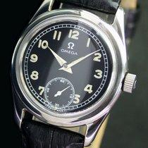 Omega Winding Side Second Black Radium Dial Steel Mens Watch