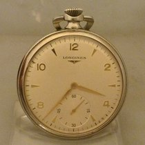 Longines pocket watch steel with applied indexes and logo cal...