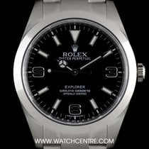 Rolex S/S Unworn O/P Black Dial New Style Explorer I B&P...