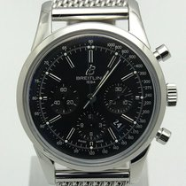 Breitling Transocean Chronograph Ab015212 Stainless Steel Mesh...
