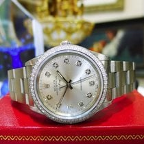 Rolex Airking Precision Stainless Steel Diamond Silver Dial Watch
