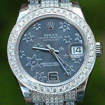 Rolex Datejust 178240 Diamond Band 31mm 18k White Gold Bezel...