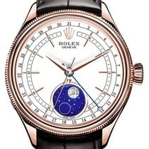 Rolex Cellini Moonphase 50535-0002 White Index Rose Gold &...