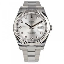 Rolex DATEJUST II 41mm 18K White Gold Bezel Diamond Dial