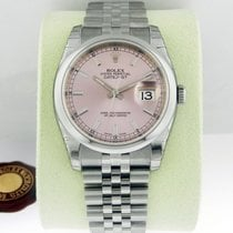 Rolex DATEJUST 36mm Stainless Steel Pink Dial Index