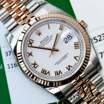 롤렉스 (Rolex) Datejust White Roman Dial Fluted 18kt Rose Gold...