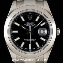 Rolex Stainless Steel Black Baton Dial Datejust II B&P 116300