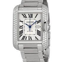 Cartier WT100009 Tank Anglaise - Diamond Bezel - White Gold on...