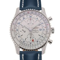 Breitling Navitimer World 46 Chronograph Silver Dial Blue...