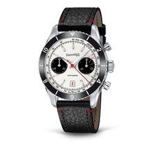 Eberhard & Co. Contograf cinturino in cuoio, cronografo, data