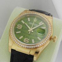 Rolex Datejust 116188 18K Yellow Gold 36mm Diamond Bezel Green...