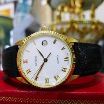 Men's Geneve 18k Yellow Gold Quartz Dress Watch