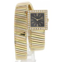Bulgari Serpenti 18k Tri Color Bangle SQ221T w/ Diamonds