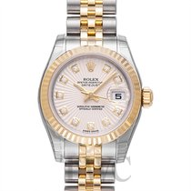 Rolex Lady Oyster Perpetual Champagne Sunburst Steel/18k gold Dia