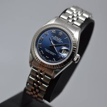 Rolex Datejust Lady 26mm Steel Blue Roman 18K WG Fluted Bezel...