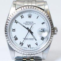 Rolex Datejust 16234 White Roman Dial Engine Turned Bezel...