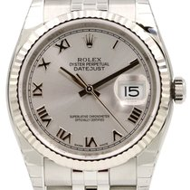 Rolex Datejust 36 116234-SLVRFJ Silver Roman Fluted White Gold...