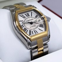 Cartier Roadster W62031y4 Large Auto Two Tone 18k Yellow Gold...