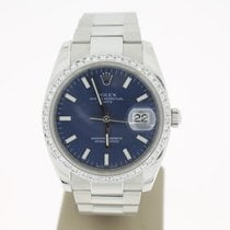 Rolex Date 34mm Steel BlueOceanDial (BOX2007) Afterset Diamonds