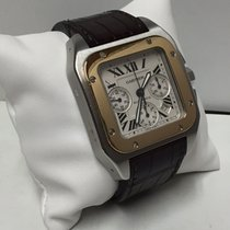 Cartier Santos 100 XL Steel and Gold Leather Strap