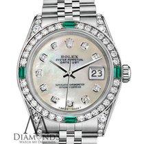 Rolex Datejust 26mm Steel White Pearl Diamonds Emeralds...