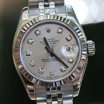 Rolex Ladies 179174 Datejust 26mm 18k White Gold Steel Silver...