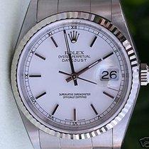 Rolex Datejust Mens Stainless Steel White Gold Bezel White...